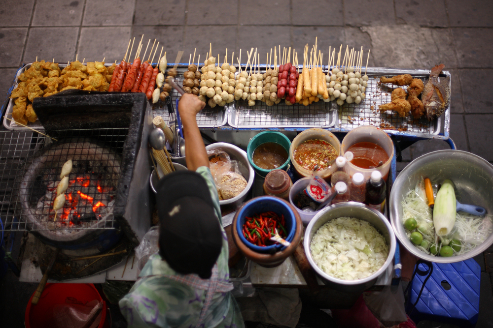 Top view of a Thai street food vendor in Bangkok, Thailand.