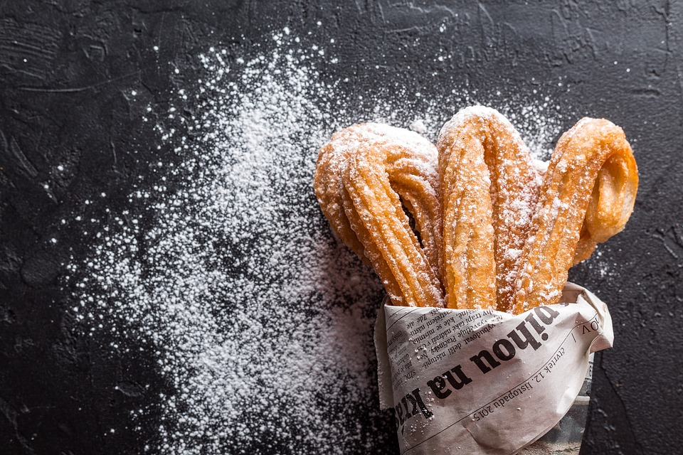 Churros, a fried-dough pastry popular in Spain